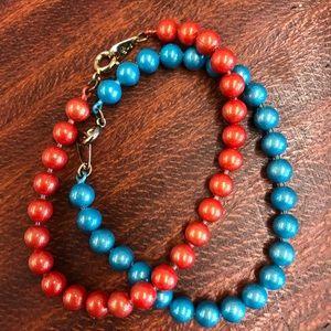 Vintage Blue and Orange Bead Bracelets